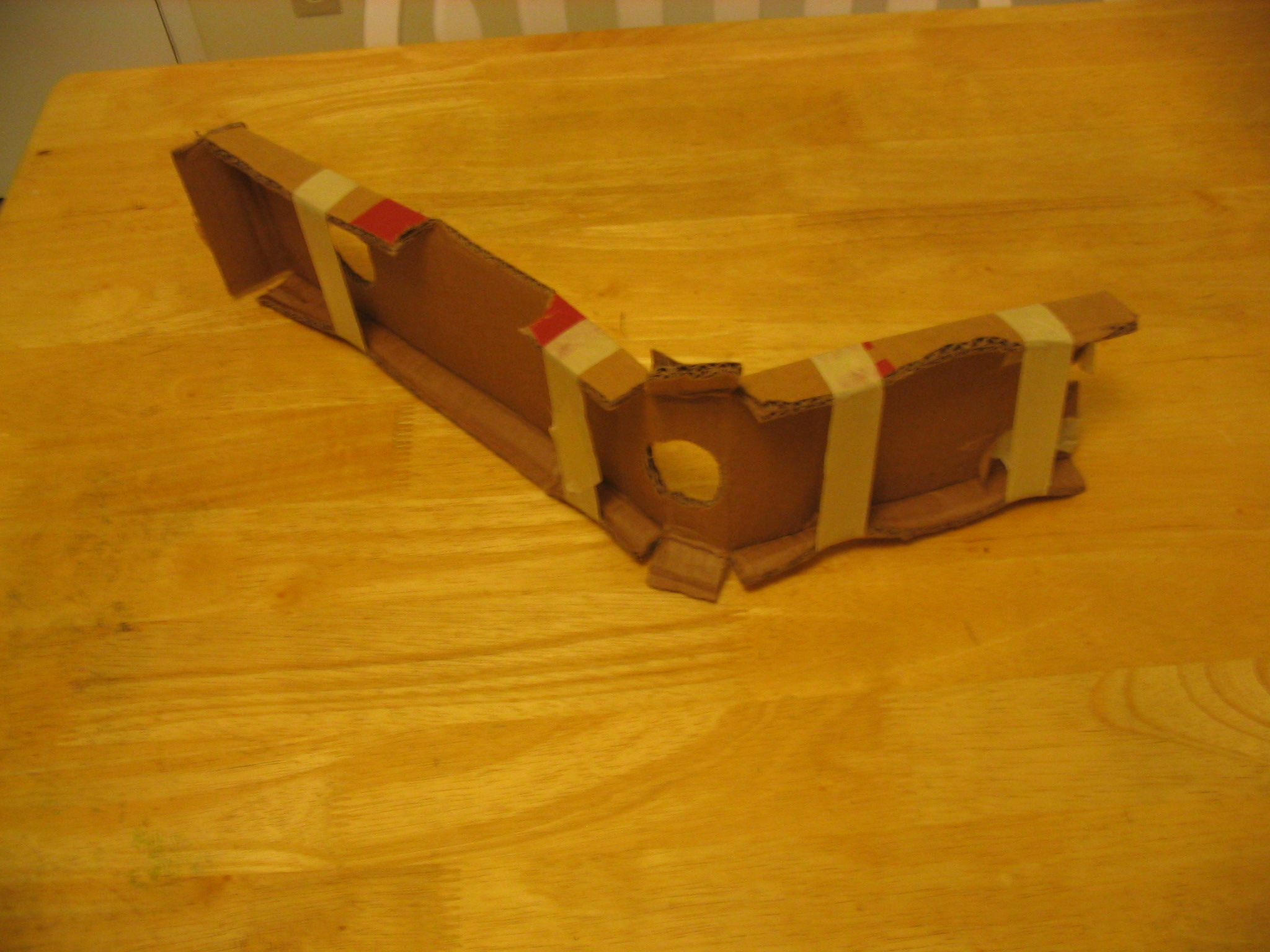 First rough cardboard arm